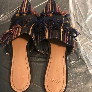 Zara Flat Fabric Frayed Mules